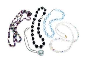 LOT OF BEADED GLASS NECKLACES