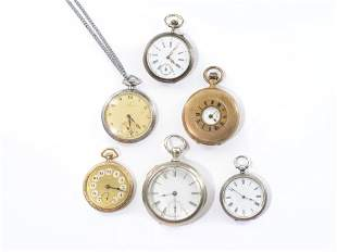 GROUP OF SIX POCKET WATCHES