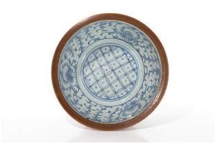 CHINESE BLUE WHITE CAFEAULAIT PORCELAIN BOWL