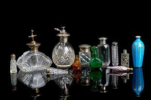 LOT OF ASSORTED GLASS PERFUME SCENT BOTTLES