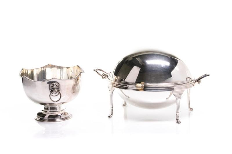 SILVERPLATE MONTIETH BOWL AND DOMED SERVING DISH