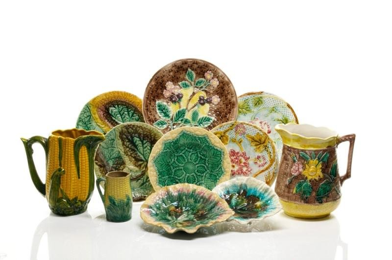 LOT OF ASSORTED MAJOLICA POTTERY