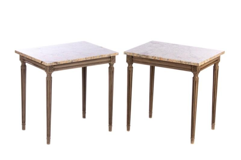 PAIR OF FRENCH MARBLE TOP END TABLES