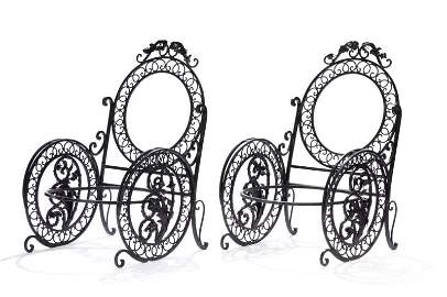 PAIR OF ANTIQUE WROUGHT IRON GARDEN CHAIRS