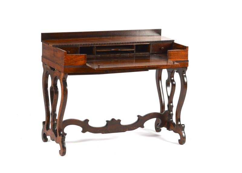 19TH C ENGLISH ROSEWOOD SPINET FORM DESK