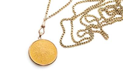 1915 GOLD COIN AS PENDANT WITH WATCH FOB, 39g