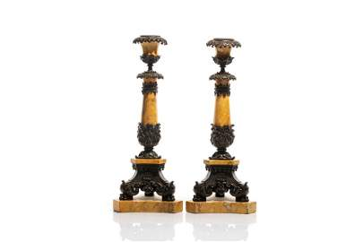 PAIR OF FRENCH MARBLE & BRONZE CANDLESTICKS