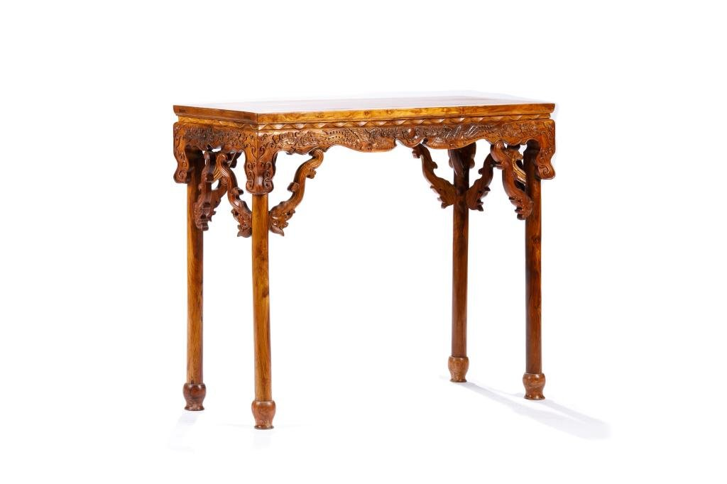 CHINESE CARVED HUANGHUALI RECTANGULAR SIDE TABLE
