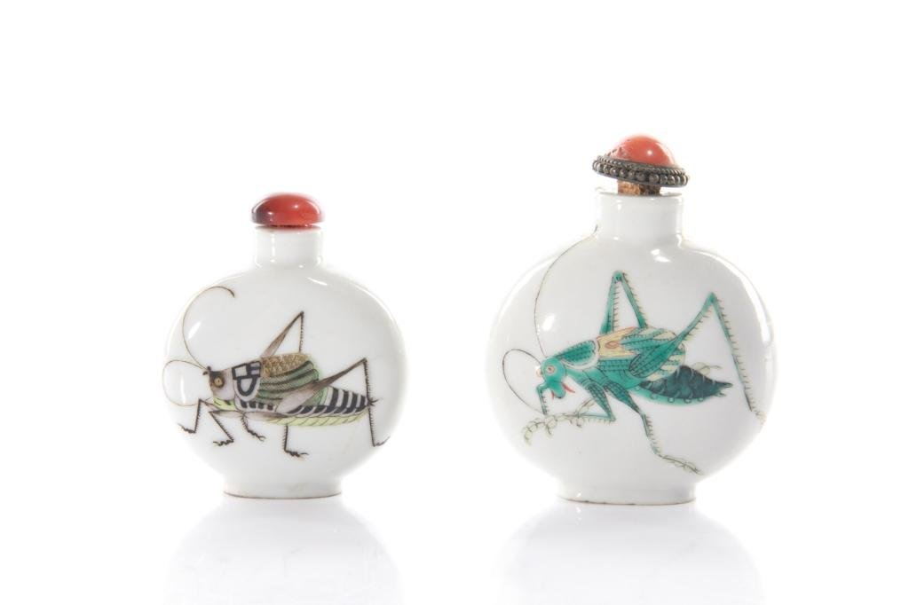 TWO CHINESE ENAMEL PAINTED PORCELAIN SNUFF BOTTLES