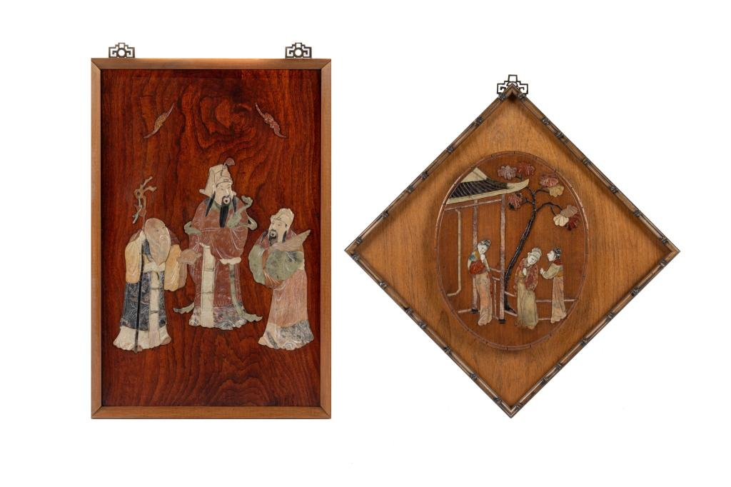 TWO CHINESE MIXED STONE INLAID WOOD PLAQUES