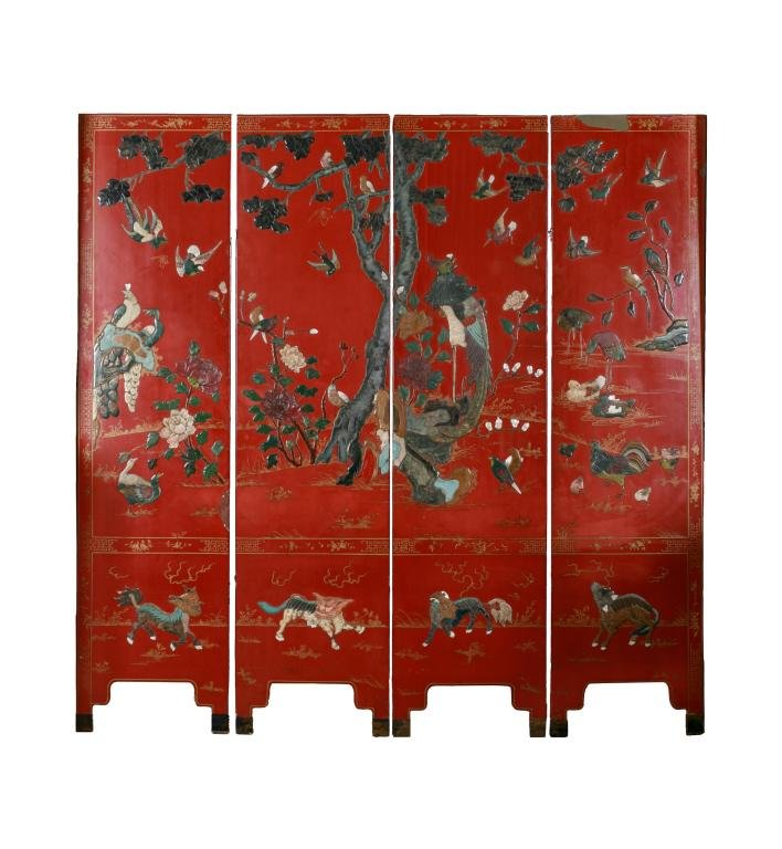 FOUR PANEL CHINESE MIXED INLAID RED LACQUER SCREEN