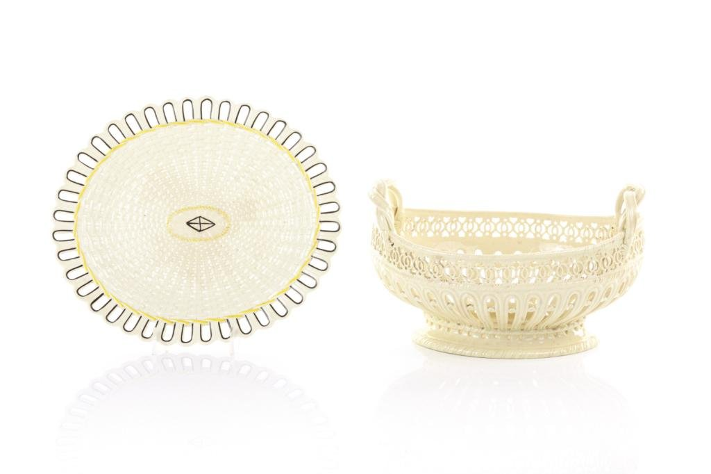 TWO PIECES OF BASKET WEAVE ENGLISH CREAMWARE