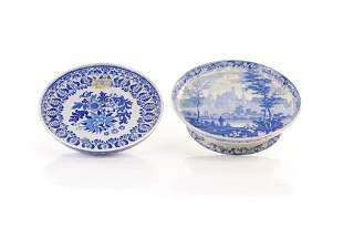 TWO 19TH C ENGLISH BLUE WHITE CHEESE STANDS