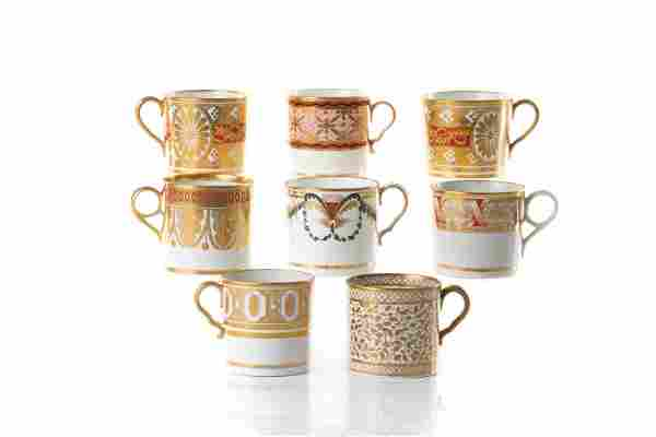 EIGHT EARLY 19TH C PORCELAIN COFFEE CANS