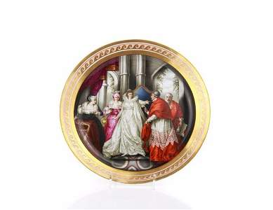 A RARE HAND PAINTED CHAMBERLAIN WORCESTER PLATE