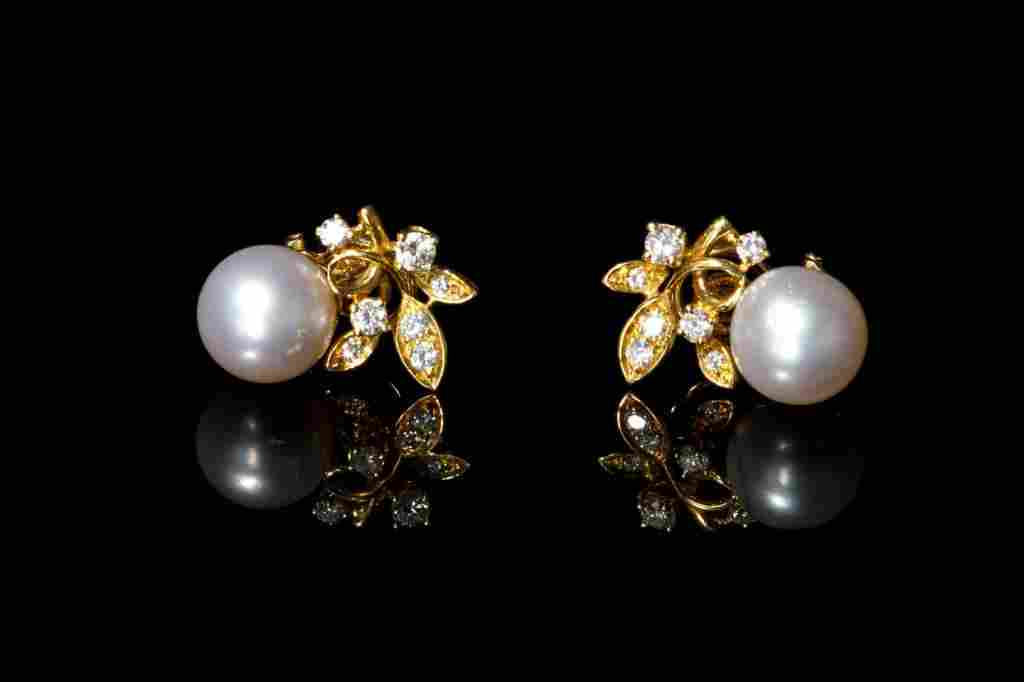 PAIR OF GOLD, DIAMOND & PEARL EARRINGS