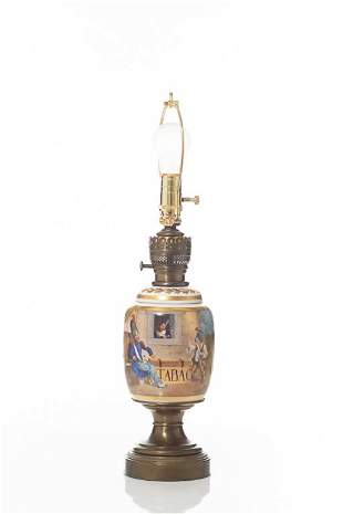 PORCELAIN TOBACCO JAR MOUNTED AS A LAMP