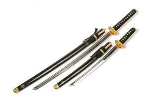 PAIR OF MODERN JAPANESE KATANA SAMURAI SWORDS