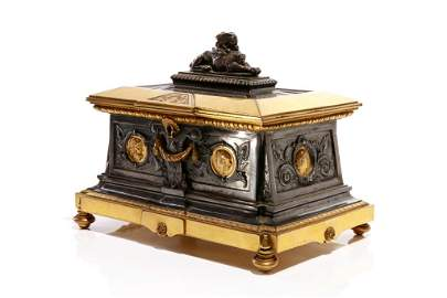 19TH C FRENCH SILVERED & GILT BRONZE TABLE CASKET