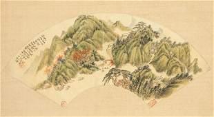 ZHENG SHAN (1810-1897), LANDSCAPE FAN PAINTING