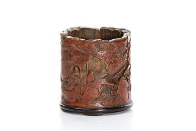 CHINESE SCHOLAR'S BAMBOO CARVED BRUSHPOT
