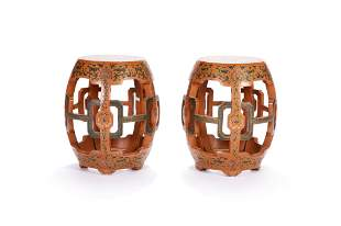 PAIR OF CHINESE LACQUER GARDEN STOOLS