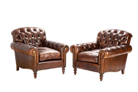 PAIR OF TUFTED BROWN LEATHER CLUB CHAIRS