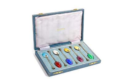 CASED GROUP OF EIGHT SILVER & ENAMELED SPOONS