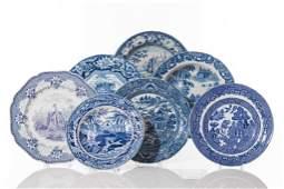 SEVEN ASSORTED BLUE & WHITE TRANSFERWARE DISHES