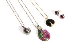 THREE NECKLACES AND PENDANTS