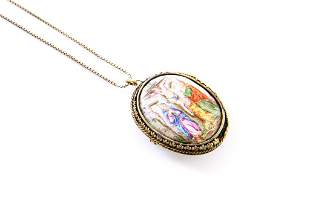 ANTIQUE ENAMEL & AGATE LOCKET PENDANT