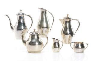 SIX PCS POUL PETERSEN SILVER TEA & COFFEE SERVICE 2726g