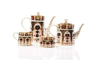 FOUR PC ROYAL CROWN DERBY IMARI TEA & COFFEE SET