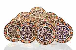 TWELVE ROYAL CROWN DERBY IMARI DINNER PLATES