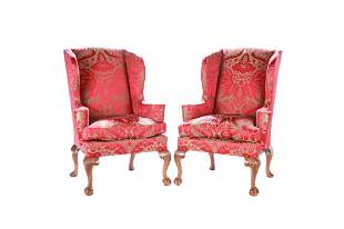 PAIR OF EARLY 18TH C ENGLISH WING ARMCHAIRS