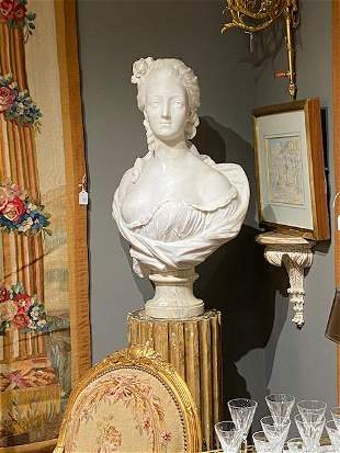 CARVED MARBLE BUST OF MARIE ANTOINETTE