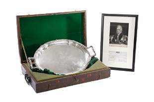 PAUL STORR ROYAL PRESENTATION SILVER TRAY, 2,737g