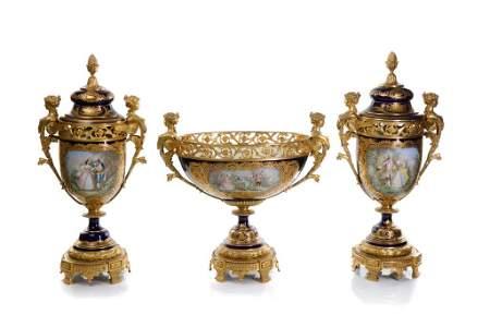 A FINE FRENCH THREE PIECE SEVRES PORCELAIN GARNITURE