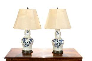 PAIR OF CHINESE BLUE & WHITE PORCELAIN ARROW VASES