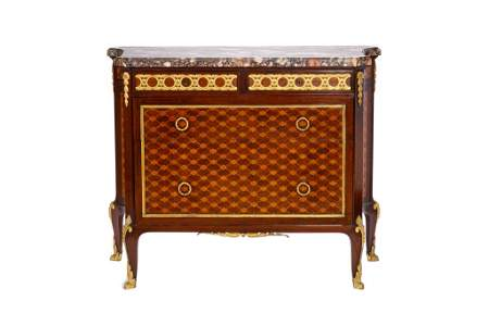 FRANCOIS LINKE MARBLE TOP MARQUETRY CABINET