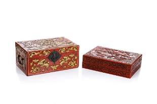 TWO CHINESE LACQUER STYLE DECORATIVE BOXES