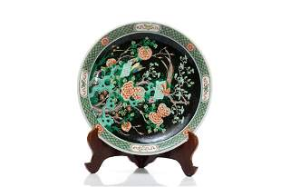 CHINESE FAMILLE NOIRE PORCELAIN CHARGER