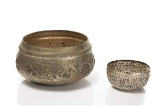 TWO SOUTHEAST ASIAN REPOUSSE SILVER PLATE BOWLS