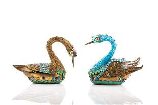 TWO CHINESE SILVER & ENAMELLED SWAN FIGURES