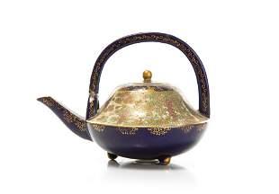 JAPANESE SATSUMA POTTERY BLUE GROUND TEA POT