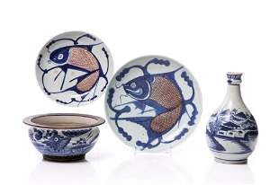 FOUR CHINESE BLUE & WHITE PORCELAIN ITEMS
