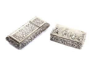 TWO ANTIQUE SILVER BOXES, 70g