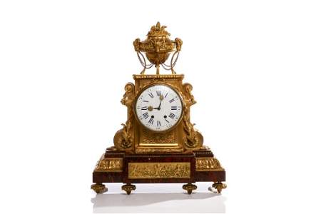 FRENCH ORMOLU & MARBLE MANTLE CLOCK