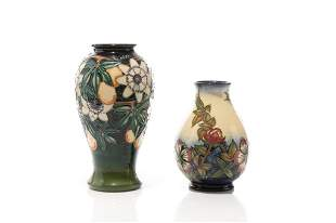 TWO MOORCROFT POTTERY VASES BY RACHEL BISHOP