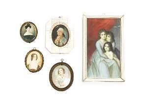 GROUP OF FIVE ANTIQUE PORTRAIT MINIATURES